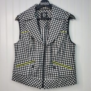 Abbie Mags Sleeveless Zip Up Plaid Check Vest